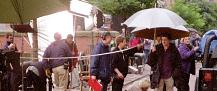 Shooting Queer As Folk on location in Canal Street, Manchester