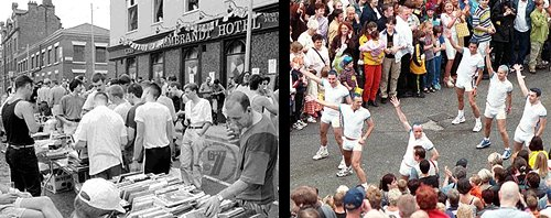 Gay events in Manchester: Canal Street jumble sale in 1990 and the Mardi Gras parade in 1998